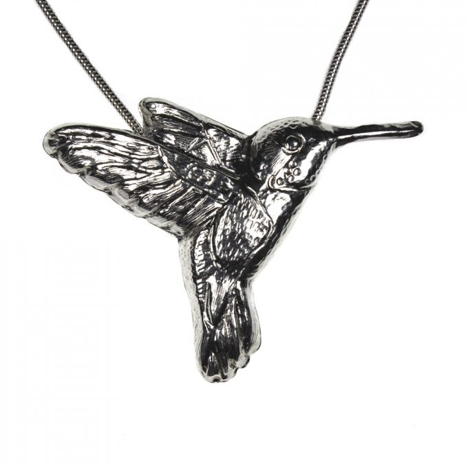 Hummingbird Necklace in Silver